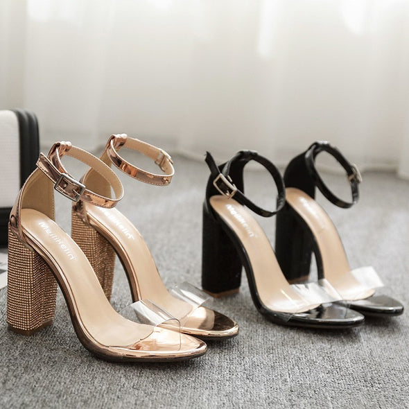 Patchwork Casual Daily High heeled Peep Toe Sandals