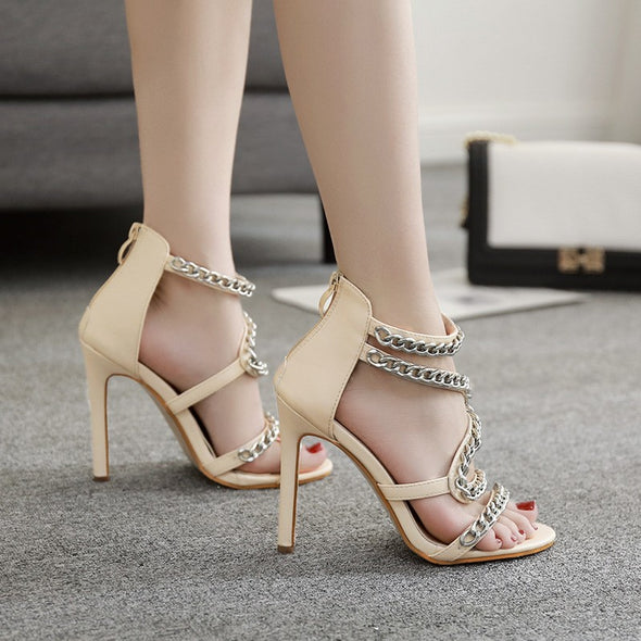 Solid Color Chain Office Daily High Heeled Peep Toe Women Heels