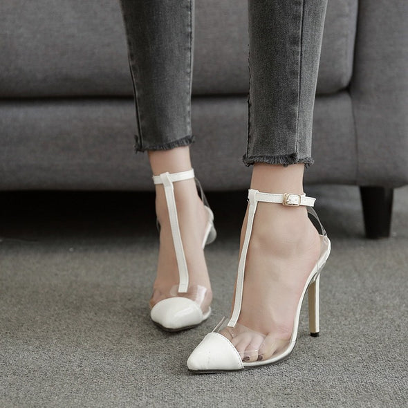 Hit Color Casual High Heeled Point Toe Sandals