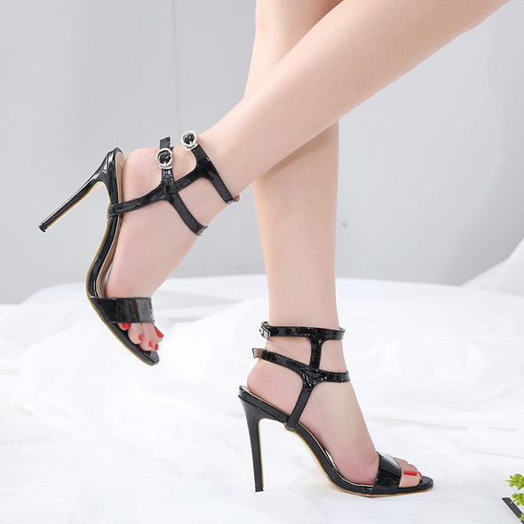 Hit Color Daily High Heeled Peep Toe Morden Sandals