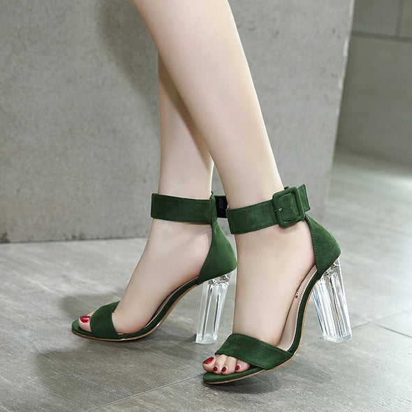 Hit Color Daily High Heeled Peep Toe Stylish Sandals