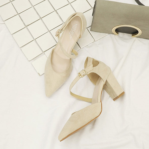 Solid Color Point Toe Office Daily Mid Heeled Women Heels