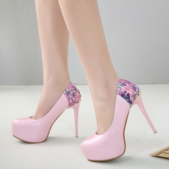 Print Patty Date High heeled Point Toe Women Heels