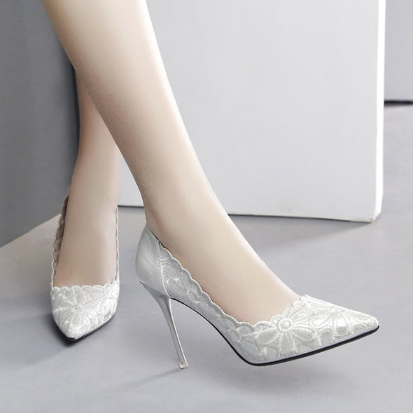 Solid Color Applique High Heeled Point Toe Women Heels