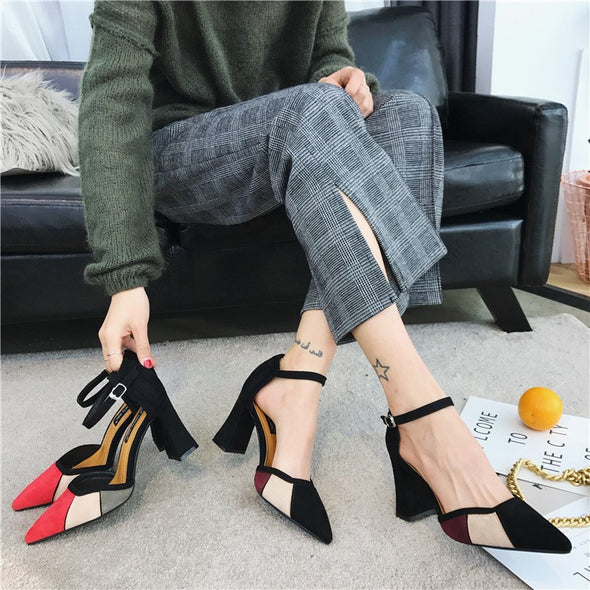 Patchwork Hit Color Mid Heeled Point Toe Sandals