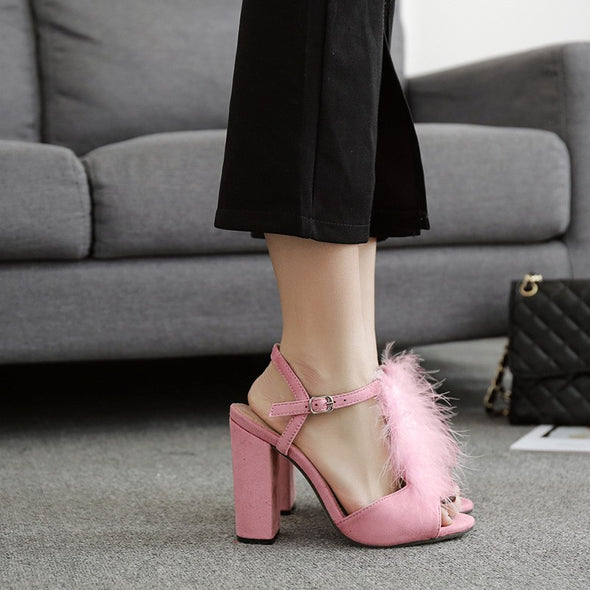 Solid Color High Heeled Peep Toe Sandals