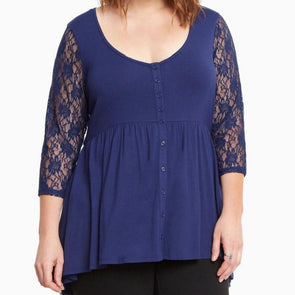 3/4 Sleeve Solid Color Normal Round Neck Openwork Buttons Plus Size Tops