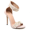 Solid Color Bead High Heeled Peep Toe Sandals