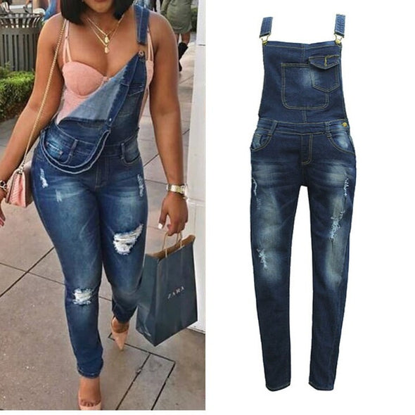 Solid Color High Waist Autumn Trousers Denim Jumpsuits