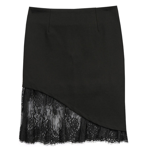 Sexy Patchwork High waist Black Plus Size Lace Skirts