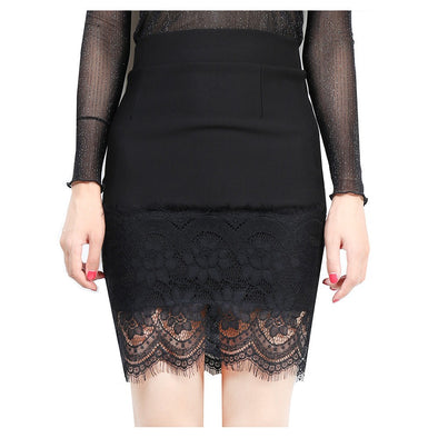 Fashion High waist Patchwork Plus Size Lace Skirts