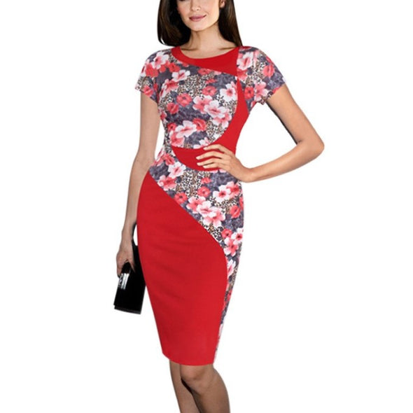 Character Short Sleeve Hit Color Round Neck Bodycon Dresses