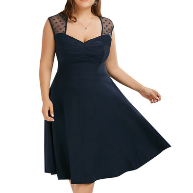 Sleeveless Dots Plus Size Casual Dresses