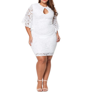 Lace Bell Sleeve Round Neck Plus Size Casual Dresses