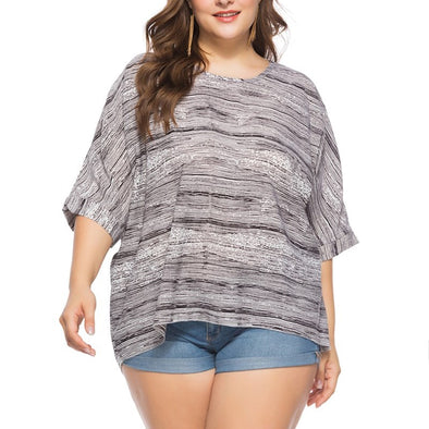3/4 sleeve Bell sleeve Stripe Round neck Plus size Tops