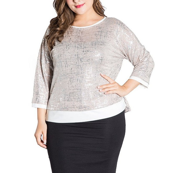 3/4 sleeve Hit Color Round neck Patchwork Plus size Tops