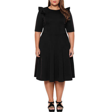 Short Sleeve Lotus Leaf Collar Plus Size Casual Dresses