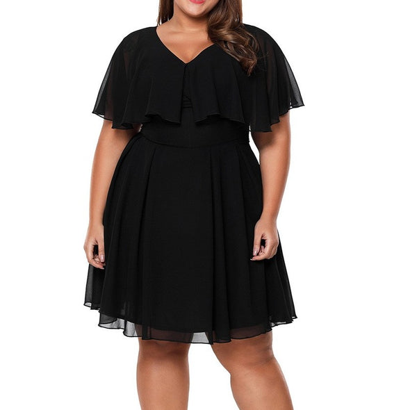 Chiffon Lotus leaf sleeve V neck Plus size casual Dresses
