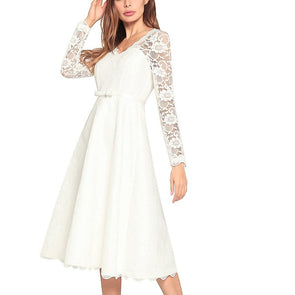 Long Sleeve Print V Neck Openwork Bowknot Vacation Dresses
