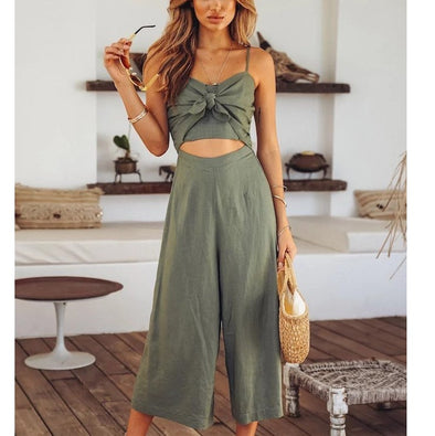 Sleeveless V-neck Bowknot High Waist Jumpsuits