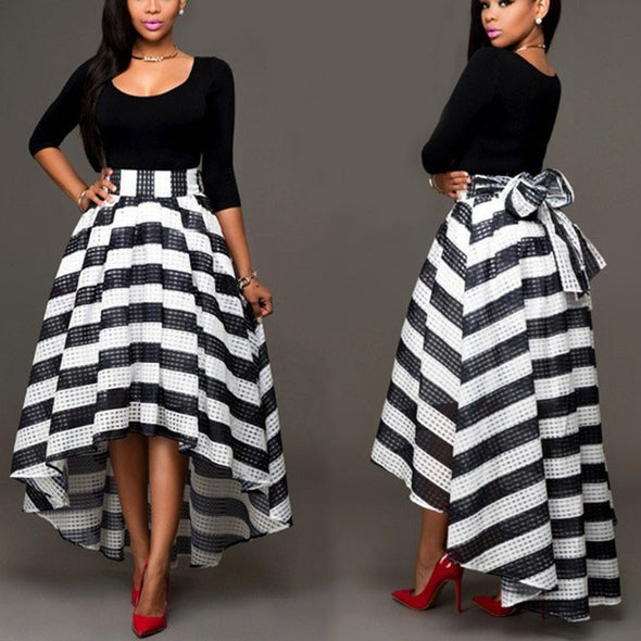 3/4 sleeve Check Round neck High waist Skirts