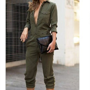 Long Sleeve Polo Collar Jumpsuits