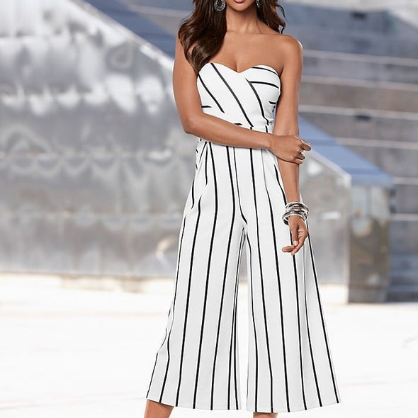 Sleeveless Stripe Off Shoulder Cropped Trousers Jumpsuits
