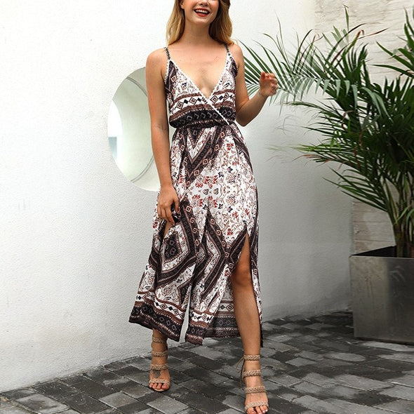 Sleeveless Print V- neck Split Cropped Trousers Jumpsuits