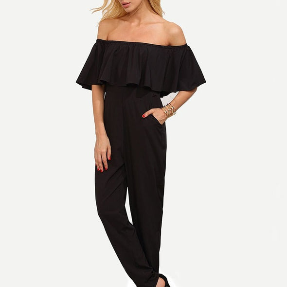 Short Sleeve Lotus Leaf Sleeve Off Shoulder Trousers Jumpsuits