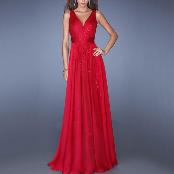 Elegant Sleeveless V Neck Elastic Waist Evening Dresses
