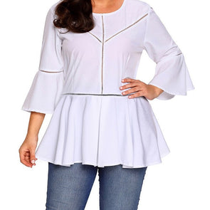 3/4 Sleeve Bell Sleeve Solid Color Round Neck Plus Size Tops