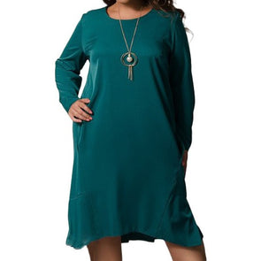 Long Sleeve Round Neck Autumn Plus Size Casual Dresses