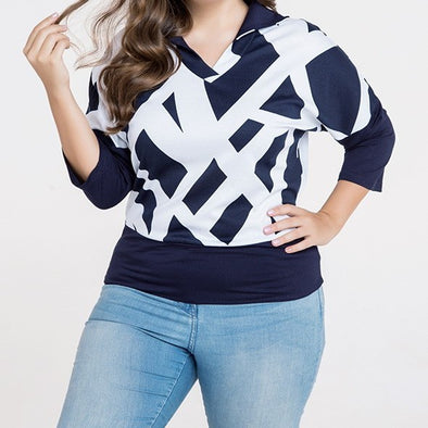 3/4 Sleeve Hit Color Round Neck Plus Size Tops