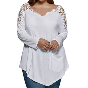Long Sleeve Solid Color V Neck Plus Size Tops