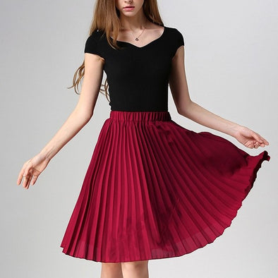 Knee length Elastic waist High waist  Skirts