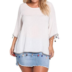 3/4 Bell Sleeve Solid Color Round Neck Plus Size Tops