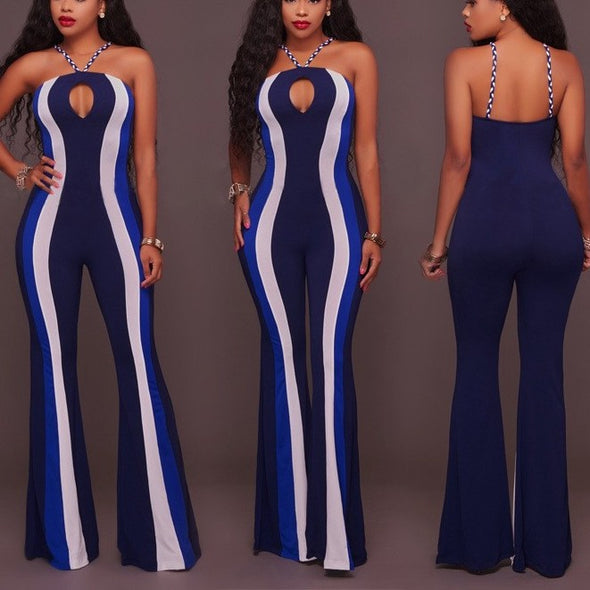 Fashion Sleeveless Hit Color Stripe Jumpsuits