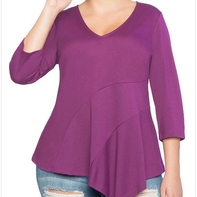 3/4 Sleeve Solid Color V Neck Plus Size Tops