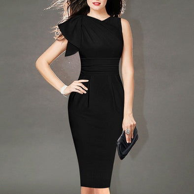 Sleeveless Solid Color Knee Length V Neck Bodycon Dresses