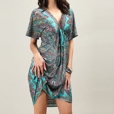 Short Sleeve Print V Neck Bandage Plus Size Casual Dresses