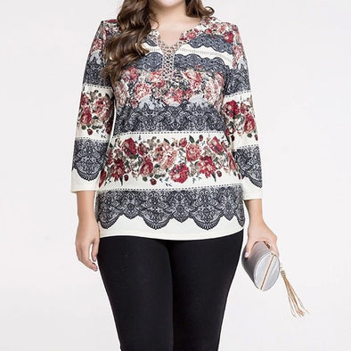 3/4 Sleeve Print V Neck Embroidery Plus Size Tops