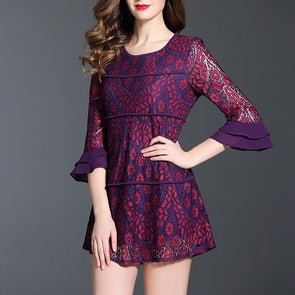 Lace Bell Sleeve Print Round Neck Embroidery Plus Size Casual Dresses