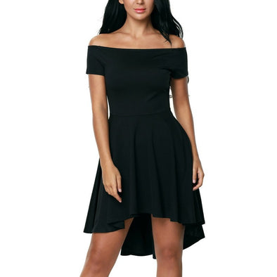 Short Sleeve Solid Color Off Shoulder Vacation Dresses