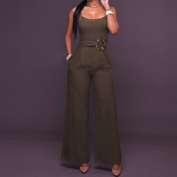 Sleeveless Solid Color Bandage High Waist Jumpsuits