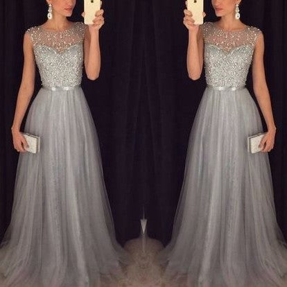 Chiffon Sleeveless Round Neck Sequins Bandage High Waist Evening Dresses