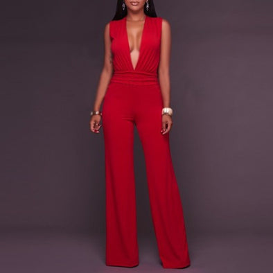 Sleeveless Solid Color V -neck High Waist Trousers Jumpsuits