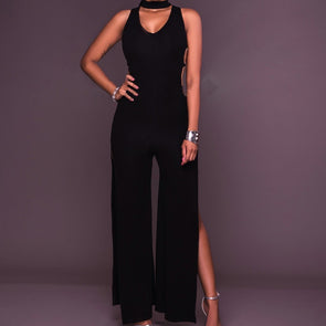 Sexy Sleeveless Solid Color V neck Split Jumpsuits