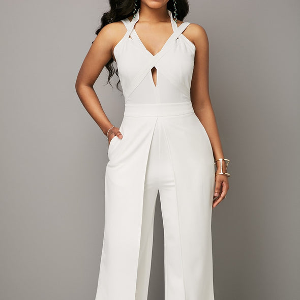 Cross Front Sleeveless Solid Color V- neck Openwork Jumpsuits