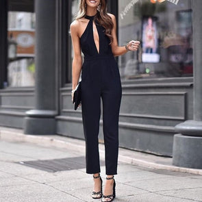 Sleeveless Solid Color Standing Collar Openwork Jumpsuits
