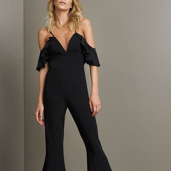 Flounce Sleeveless Solid Color Off Shoulder Jumpsuits